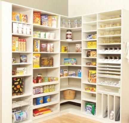 Pantry shelves ideas pantry shelving kitchen cabinets for Kitchen storage ideas