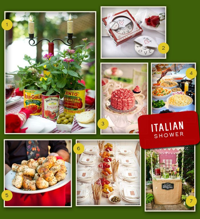 An Italian themed wedding shower is perfect for the bride that dreams of visiting Italy and loves Italian food. A sweet outdoor shower set up like an Italian bistro would be a perfect for this theme with white and red checked tablecloths and basil centerpieces on each table. A pasta bar with different types of …