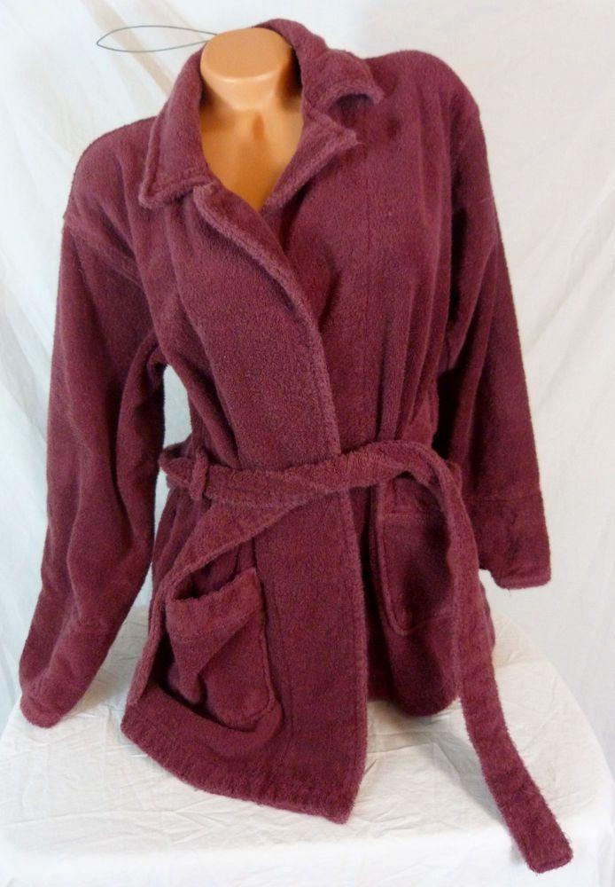 Victorias Secret Plush Maroon Bath Robe XS/S Short Front Pocket Terry Cloth #VictoriasSecret #Robes