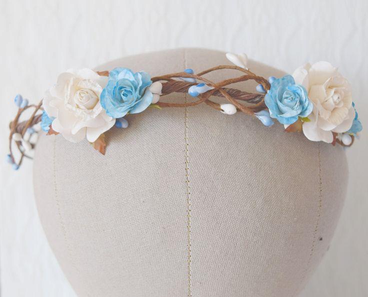 Blue rose flower circlet rose and pip flower crown