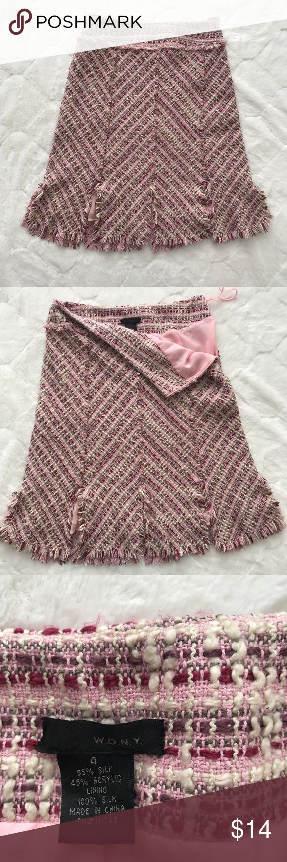 WDNY pink skirt WDNY pink skirt Size 4 EUC Side zip Car wash hem Acrylic/silk blend Silk lining peaks out when you move 💕 fun for Valentine's Day 💕 WD.NY Skirts