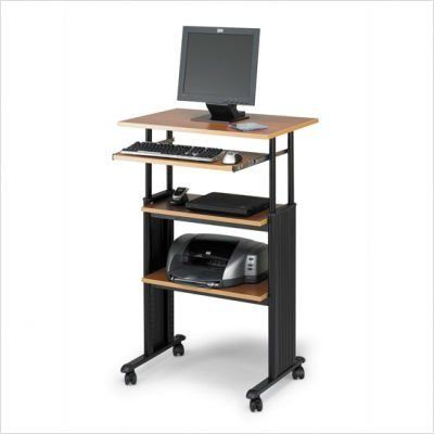 """Stand Up Workstation, 29-1/2""""x22""""x35""""-49"""", Gray, Sold as 1 each by Safco. $374.20. Stand-Up Workstation adjusts in height from 35"""" to 49"""". The workstation includes a heavy-duty steel frame, 3/4"""" shelves, snap-on cable management side covers and four casters (two locking). Durable powder-coated steel frame. Keyboard shelf extends 9-3/4"""" and retracts under the work surface when not in use. Keyboard and monitor shelf adjusts up to 14"""". Work surface meas..."""