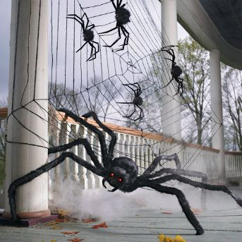 great big spider web with spiders on my porch for halloween - Spider Web Decoration For Halloween