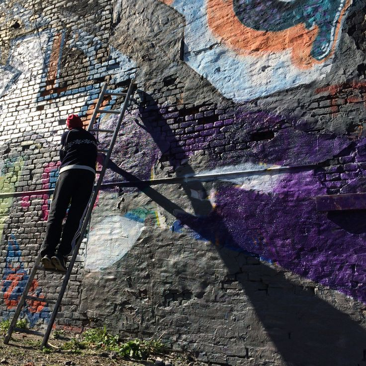 Artist på vägg