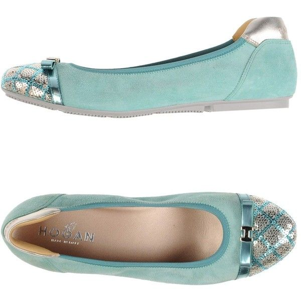 Hogan Ballet Flats ($207) ❤ liked on Polyvore featuring shoes, flats, light green, ballet shoes, ballet flats, ballet pumps, sequin shoes and leather ballet shoes
