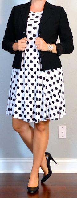 outfit post maternity: black & white polka-dot dress, black suit jacket, black pumps