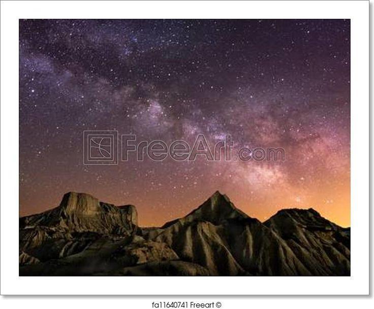 """""""Milky way over the desert of bardenas, spain"""" - Art Print from FreeArt.com"""