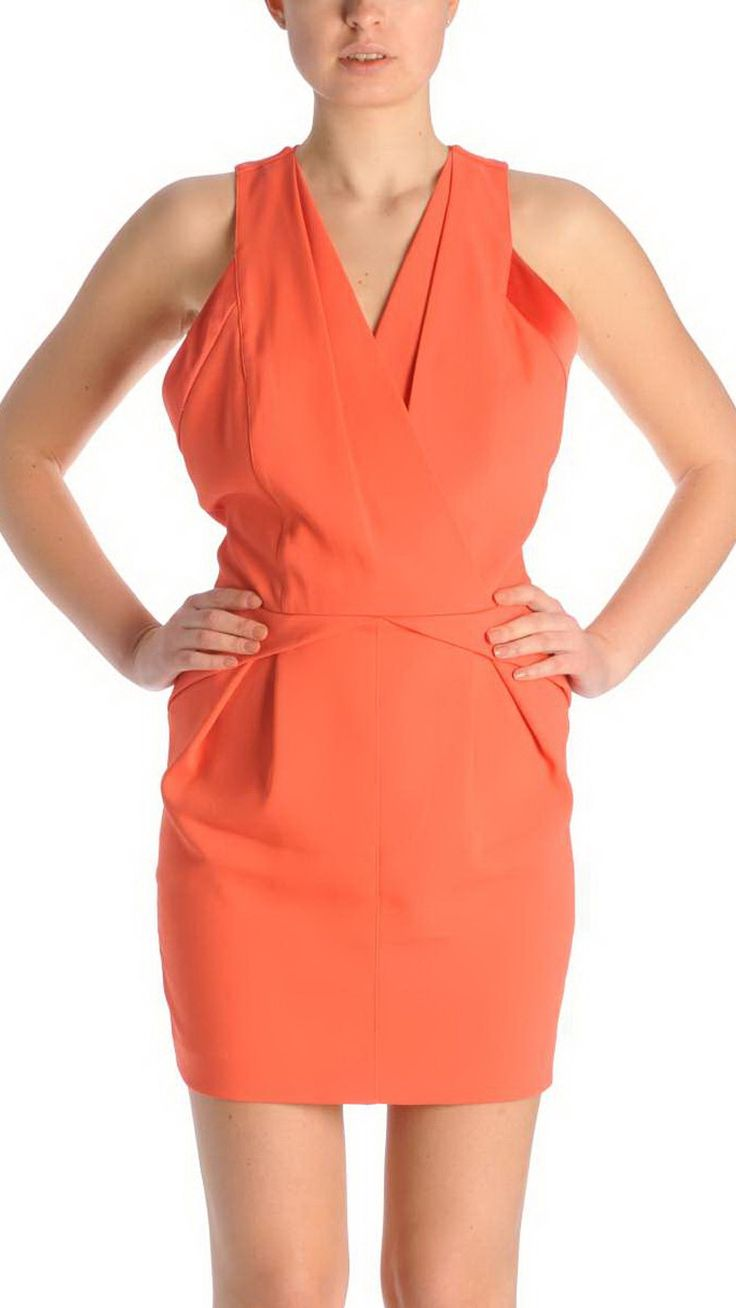 Atos Lombardini V-neck dress, concealed zip fastenings, waist drawstring, two back pockets.