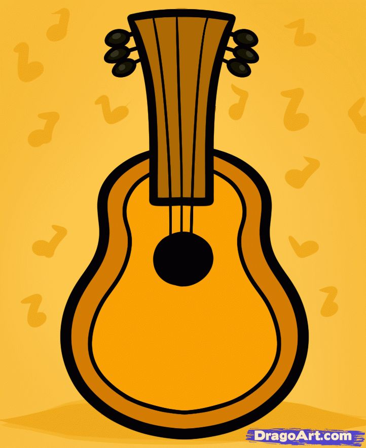 how to draw a guitar for kids