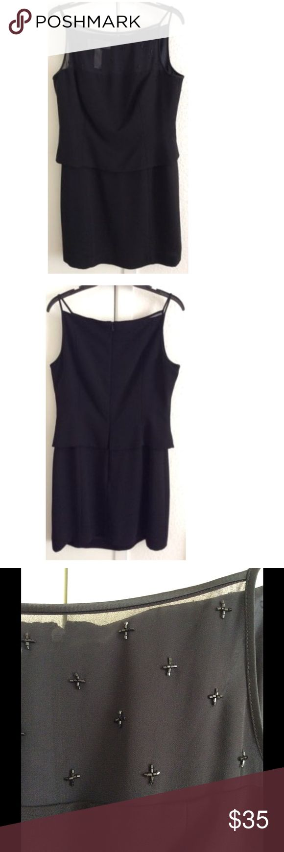 Black Bead Mesh Front  Petite Mini Dress Size: Petite Large. Measurements: bust- 36 inches, waist- 32 inches, hip- 38 inches, length- 30 inches. Material: 100% Polyester. Jones New York Dresses Mini