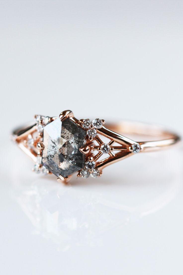 Salt and Pepper Diamond Engagement Ring Bridal engagement ring alternative bridesmaid jewelry set