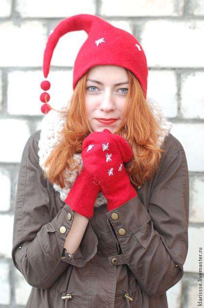 Красная шапочка, красные варежки, Новый год, зимняя шапочка, женские варежки, войлочные рукавички, валяные варежки, варежки от Клары Ру