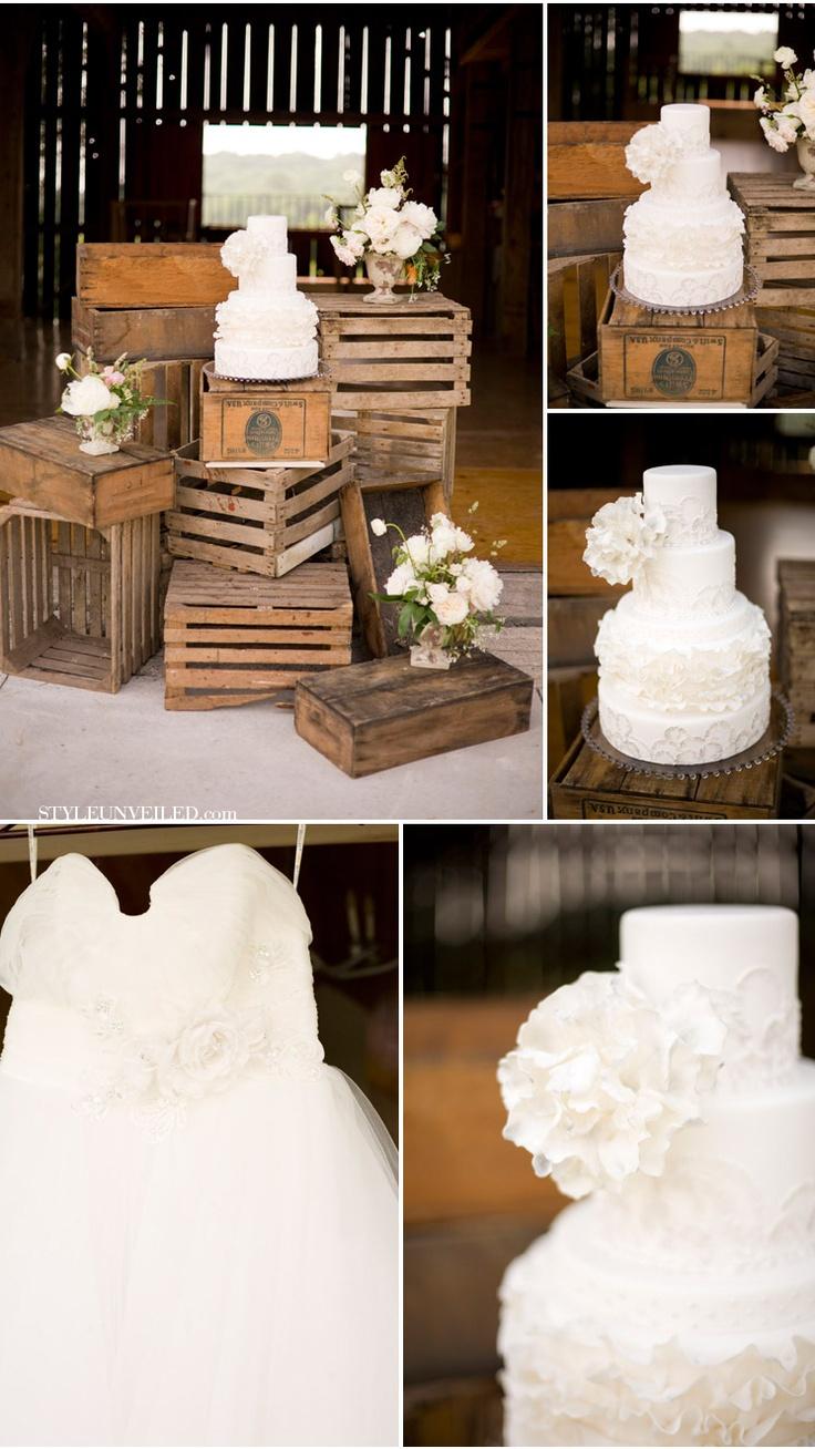 Love the Cake DisplayWhite Cake, Ideas, Cake Stands, Cake Display, Wedding Cake, Old Crates, Ranch Weddings, Cake Tables, Rustic Wedding