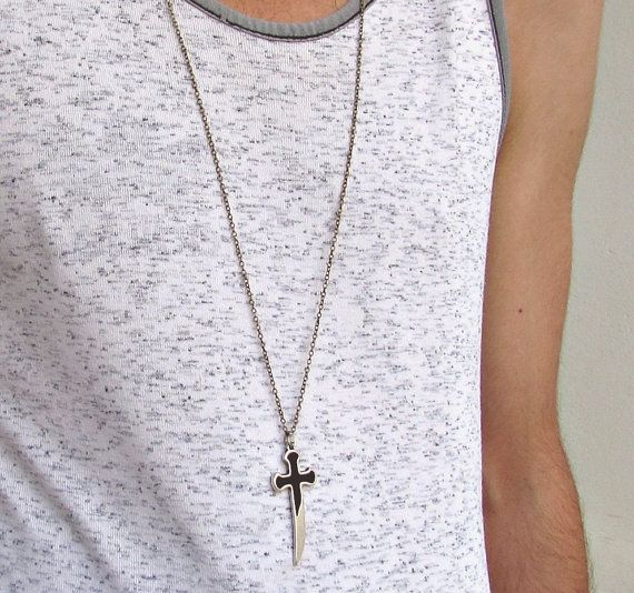 Sword Mens Long Necklace Unisex Mens Necklace by GUSFREE on Etsy