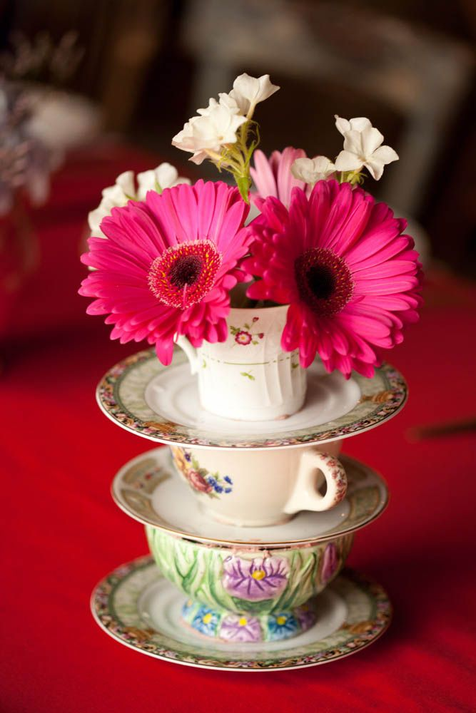 An Alice in Wonderland theme for tea cup display