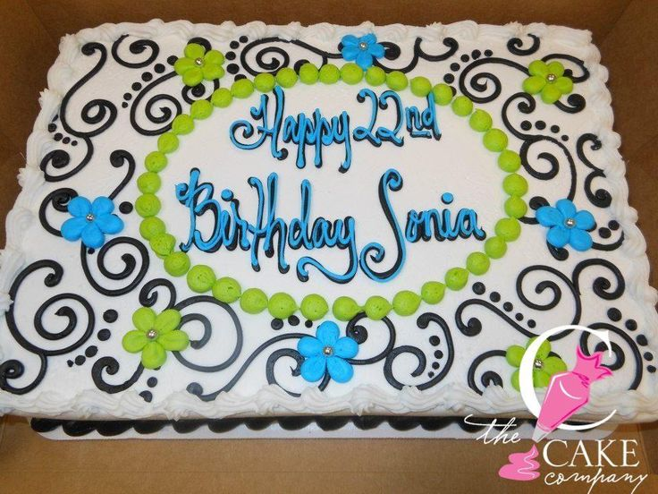 Scroll work and flowers birthday cake