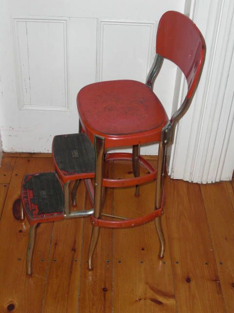 RESERVED for denisemarr1   Vintage Red Metal COSCO Step Stool Chair Folding Kitchen Step Ladder