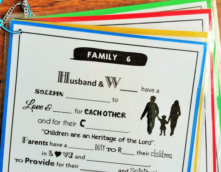Missing Words: A Proclamation to the FAMILY.  free printable, you can use this as a worksheet or laminate it and grab a dry erase marker, then you can use it over and over!