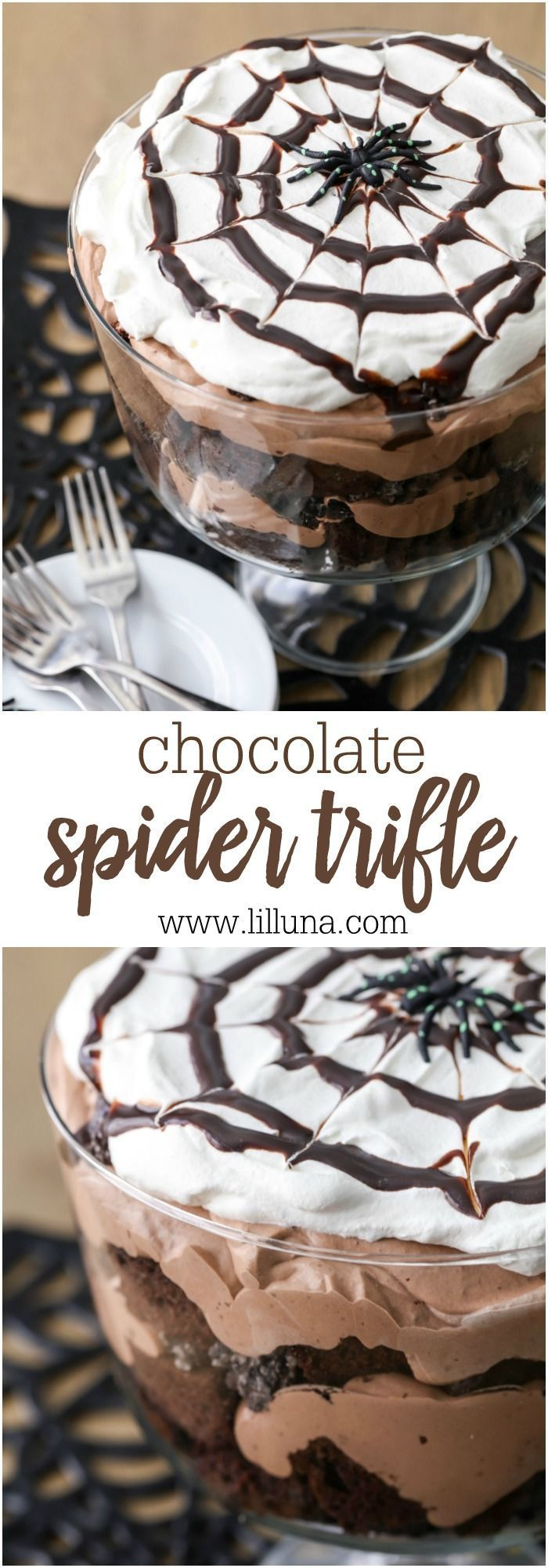 Chocolate Spider Trifle - layers of chocolate cake, Oreo, chocolate mousse and�