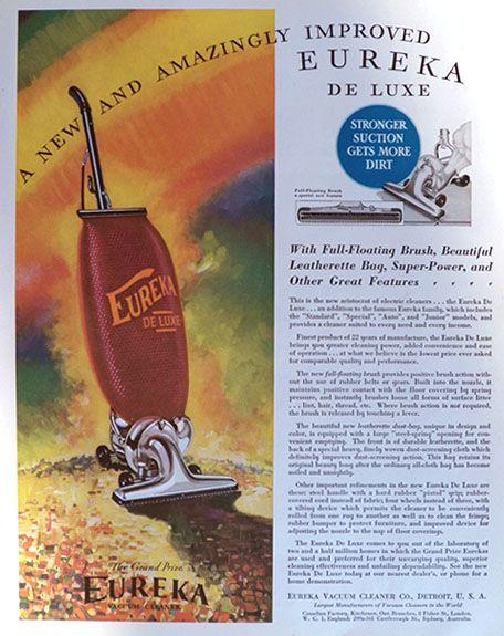 1931 Eureka Vacuum Cleaner Ad ~ Amazingly Improved
