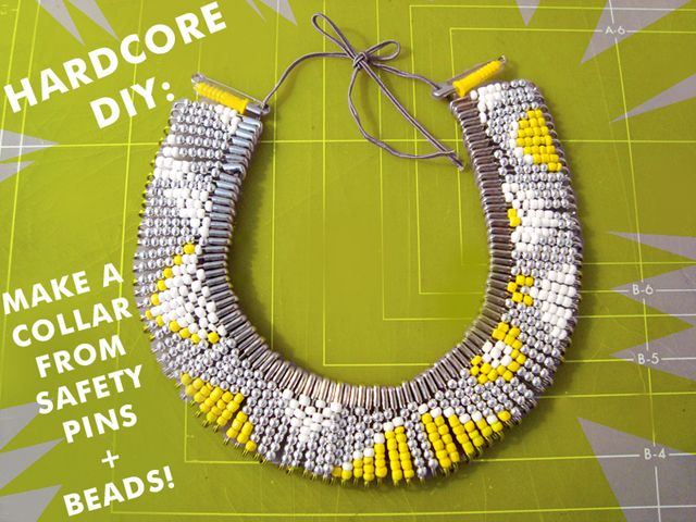 This looks so fun!: Diy Necklaces, Statement Necklaces, Beads Necklaces, Seeds Beads, Safety Pin Crafts, Tribal Jewelry, Hardcore Diy, Tribal Necklaces, Tribal Patterns