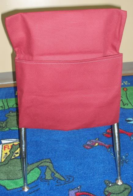 Make the chair cover the same color as the table spot. I will need to make 7 each: Yellow, Red, Blue, Green.