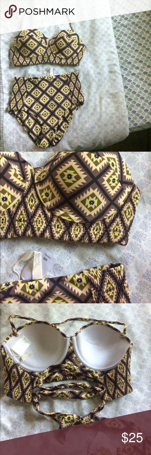 Tori Praver Aztec high waist bikini Barely used, excellent condition. Buttery soft fabric, very comfortable. Smocked sides makes this really flattering and comfortable. Removable halter strap. Tori Praver Swimwear Swim Bikinis