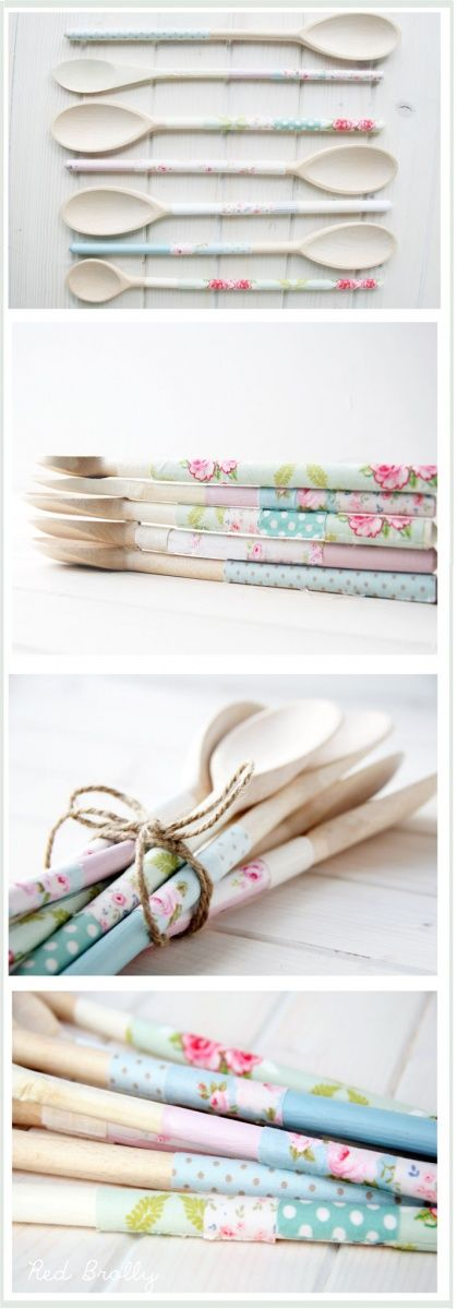 Here's a pretty and simple idea to recycle and pimp your old wooden spoons. It's very easy, I promise…and actually quite quick too- if you don't include the paint drying time  If you don't want to make your own decorative tape, you can easily buy some of the pre-made fabric tape or even use …