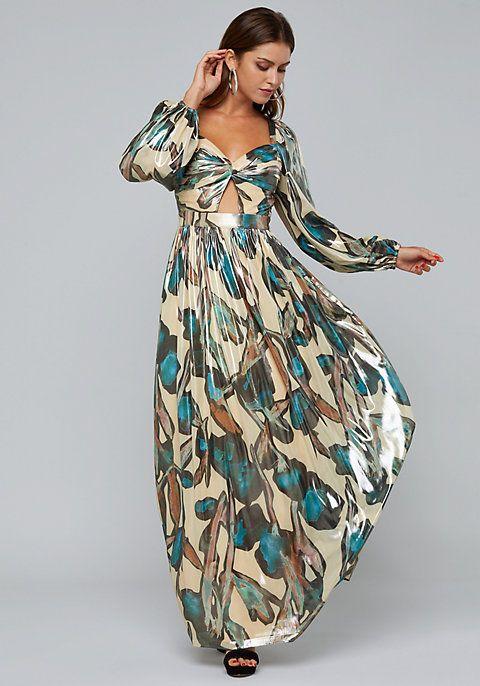 4065e1d2243a Print Lamé Twist Front Gown - Wedding Guest Dresses