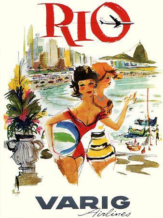 Vintage Rio Brazil Travel Posters Prints