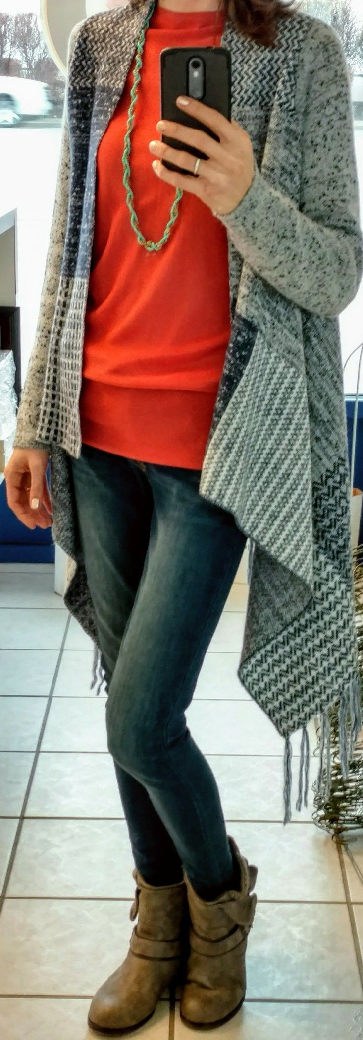 Ann Taylor shirt, Knox Rose waterfall cardigan, Levi's 535 Skinny jeans, SO boots