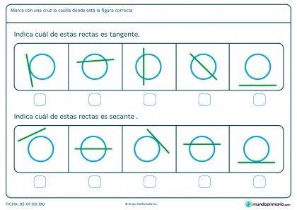 Ficha de recta tangente y secante para primaria fichas for Exterior tangente y secante