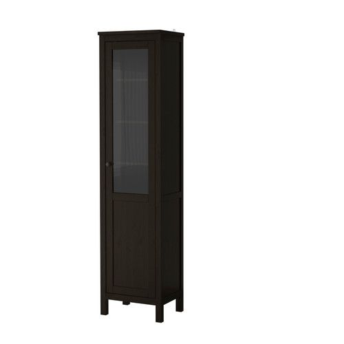 IKEA - HEMNES, Cabinet with panel/glass door, black-brown, , Solid wood has a natural feel.A cabinet with panel and glass doors can both display and hide away your things.You can choose to install the door to the right or left, according to what fits the space best.The door's integrated dampers allow it to close slowly, silently and softly.Hinges with snap-on function are easy to fit without screws.The shelves are adjustable so you can customize your storage as needed.You ca...