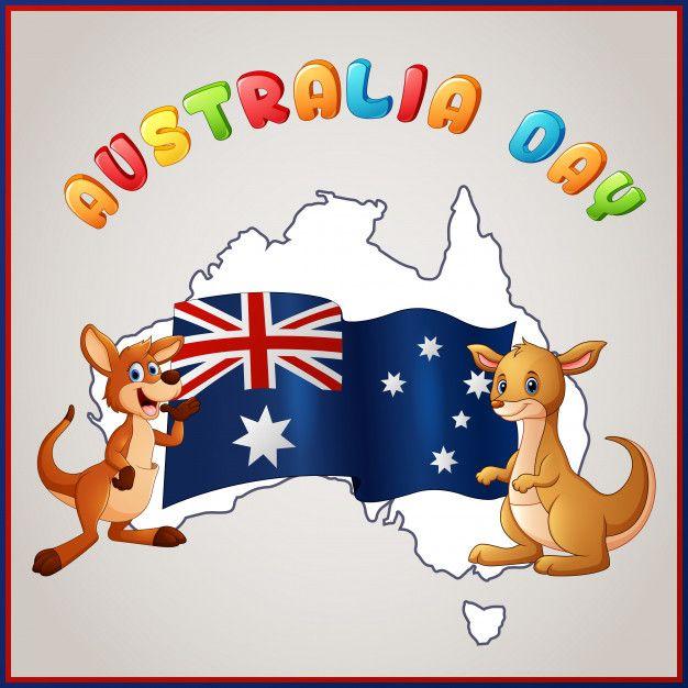 Canguros Y Bandera Australiana Para El Emblema Del Dia De Australia Vector Premium Premium Vector Freepik Vector B Bandera De Australia Australia Canguros
