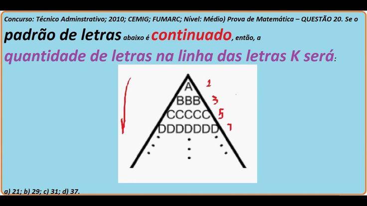 Curso Raciocínio Lógico https://youtu.be/-asAu0O-pWU Sequência de LETRAS DO ALFABETO Teste Psicotécni...