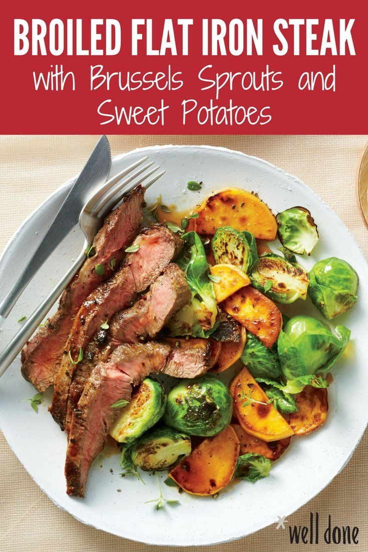 This one-pan meal is a crowd-pleaser and testament to how 4 ingredients can come together to form a supremely satisfying dish, ready in a flash. We broil the steak over the veggies so the meat juices baste them as they cook. | Well Done