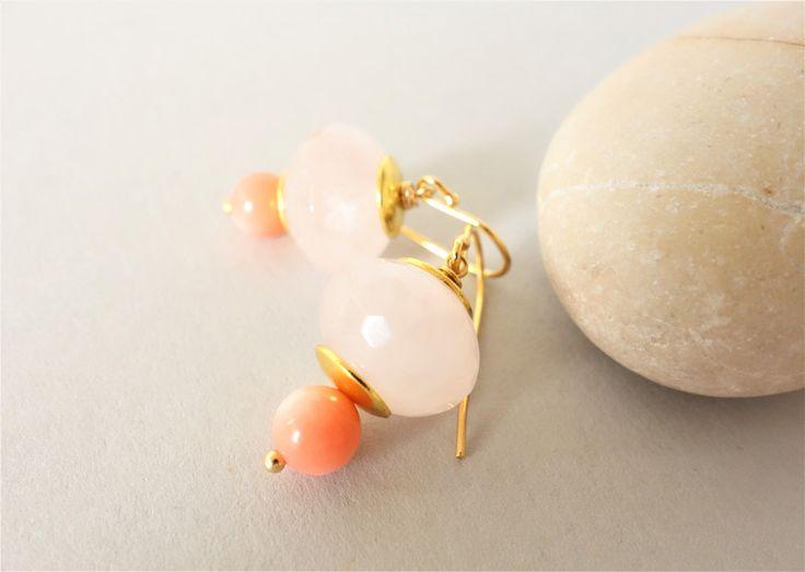 Ohrringe - Koralle Rosenquarz 925 Silber vergoldete Ohrringe - ein Designerstück von FelicitasMayer bei DaWanda