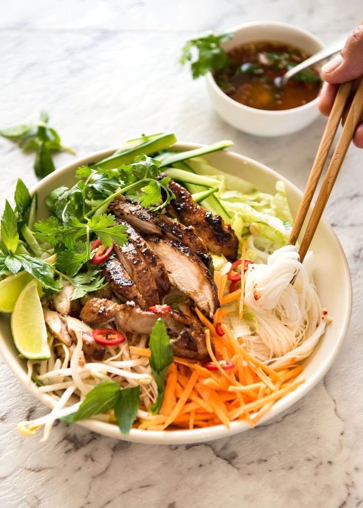 This Vietnamese Noodles with Lemongrass Chicken (Bun Ga Nuong) is fresh and loaded with bright flavours. Drizzled with Vietnamese dipping sauce Nuoc Cham.