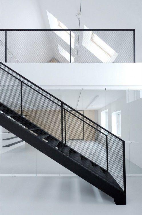 black mesh stair