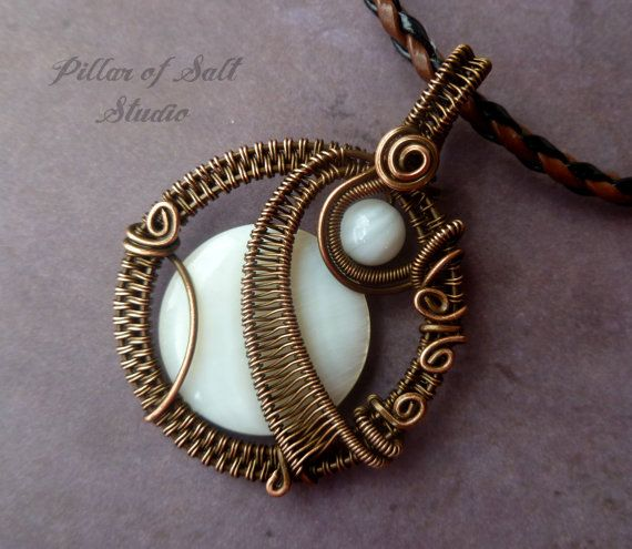 Wire Wrapped jewelry handmade, wire wrapped pendant of mother of pearl and copper by PillarOfSaltStudio