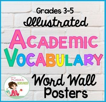 96 Illustrated Word Wall Posters. These posters cover all the Common Core academic vocabulary for reading and writing for grades three through five. They're also great for Power Pics for Whole Brain Teaching.