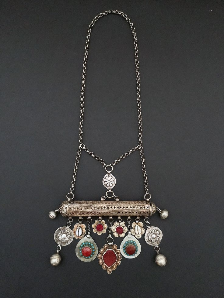 An amuletic silver necklace from Iran, with many wonderful carnelian, glass, and turquoise pendants. Probably from an Iranian minority group such as Lurs, Bakhtiari, or Kurd. From the marvelous collection of Tesori Orientali.