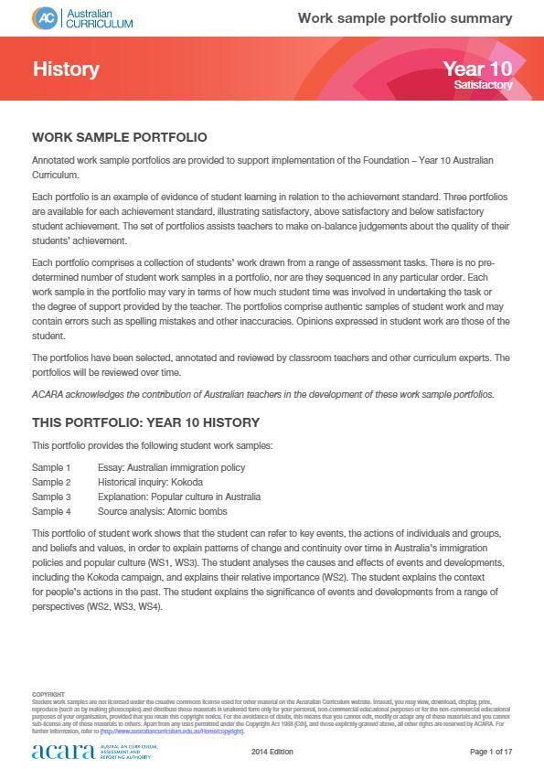Year 10 History work sample portfolio - satisfactory