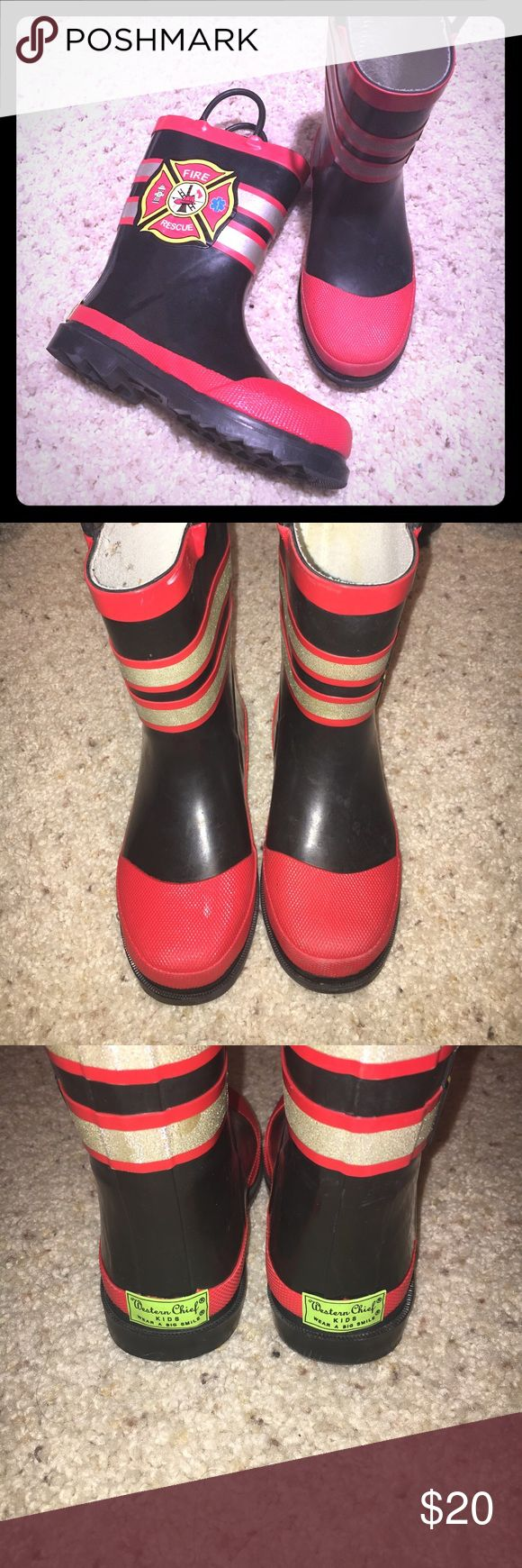 Boy's Western Chief Rain Boots! Boy's Western Chief rain boots! Fire rescue red gold and black. Boys size 11-12 Western Chief Shoes Rain & Snow Boots
