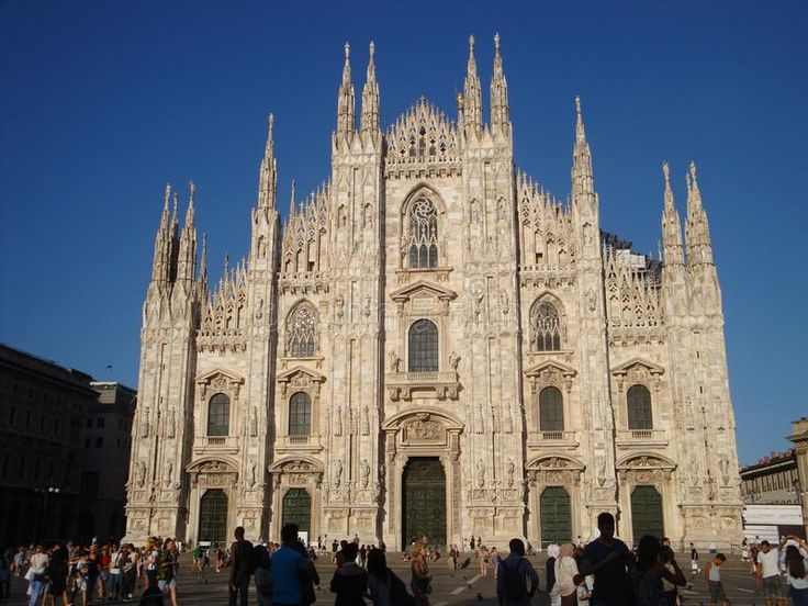 Photo about Duomo`s facade on a sunny day - July 2017 - Milan - Italy. Image of facede, mary, mass - 111277856