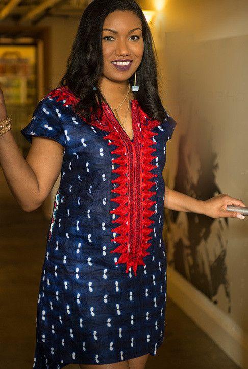 Embroidered Shift Dress  ~African fashion, Ankara, kitenge, African women dresses, African prints, African men's fashion, Nigerian style, Ghanaian fashion ~DKK