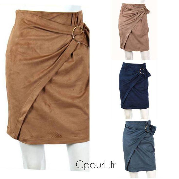 jupe suédine - jupe nouée boucle - jupe portefeuille - Cpourl.fr