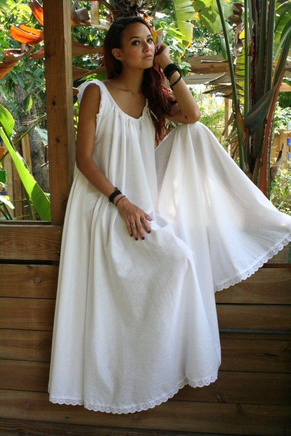 White Cotton Full Swing Bridal Wedding Lingerie Romance Honeymoon Dream Nightgown Sleepwear. Etsy.