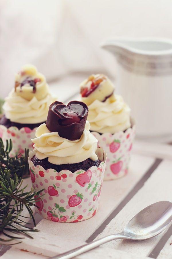 Chocolate cherry cupcakes with white chocolate ganache