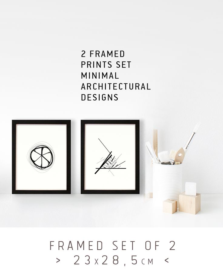 Set of 2 black and white prints FRAMED. Black wooden frame and Plexiglas on front. Minimal designs inspired by cycladic architectural elements. by the Round Button - Greece